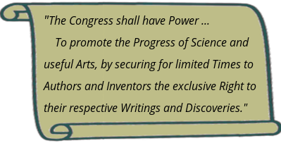Article I, Section 8, Clause 8 of the United States Constitution explains the point of IP: To promote the Progress of Science and useful Arts, by securing for limited Times to Authors and Inventors the exclusive Right to their respective Writings and Discoveries